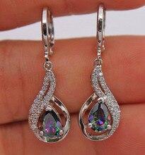 Boucles doreilles en Zircon, modèle arc-en-ciel pour femme, style Boho, couleur argent, pierres en cristal, longues boucles doreilles en cristal pour femmes