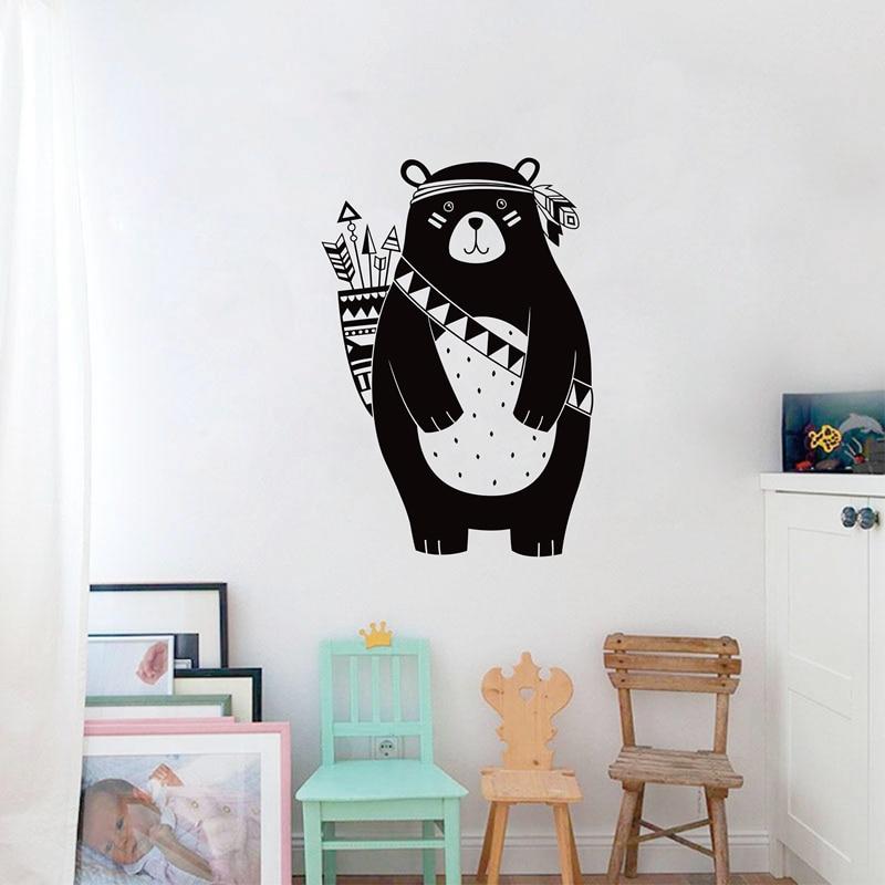 Tribal Bear Wall Decal Woodland Animal Bear Wall Sticker For Kids Room Tribal Nursery Wall Sticker Home Decoration Vinyl Mural