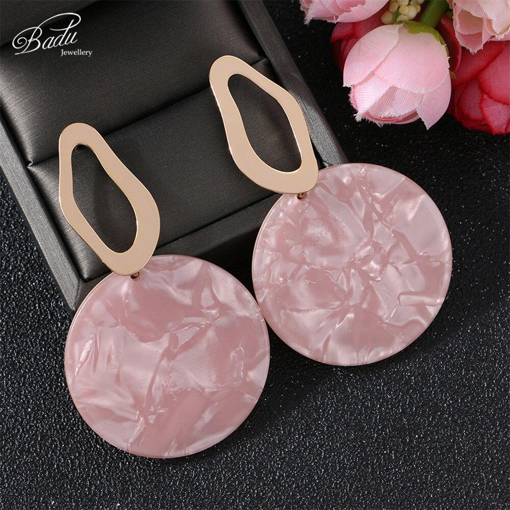 Badu Big Round Acrylic Panel Earrings for Women Korean Cute Style Bohemian Earring Acetic Acid Fashion Jewelry Gift for Party