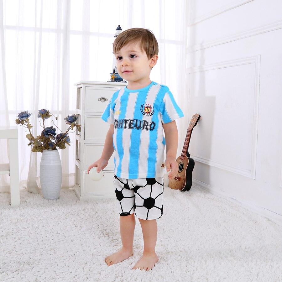 Conjuntos de ropa deportiva para bebés, camiseta informal de verano para niños + pantalones cortos de dibujos animados para niños pequeños, ropa de fútbol DS19