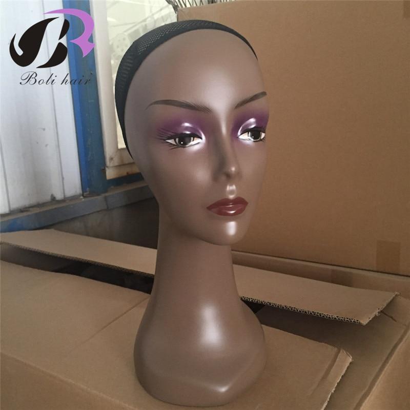 ¡Envío Gratis! ABS realista peluca para mujer negro stand Wigs head con Hairnet cabeza para formación en peluquería sin pelo