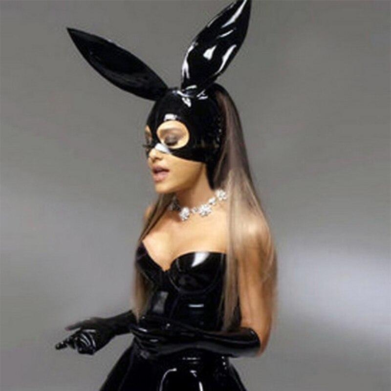 Lencería sexi bonita exótica para mujer, ropa de fiesta para chica, ropa de club negra de látex, divertidas capuchas de conejito con cremallera en la espalda y agujero en el pelo, fetiche cekc zentai
