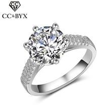Cc anéis para mulher s925 prata 2ct anel de casamento grande redondo zircônia cúbica pedra jóias de luxo moda nupcial bijoux femme cc1470