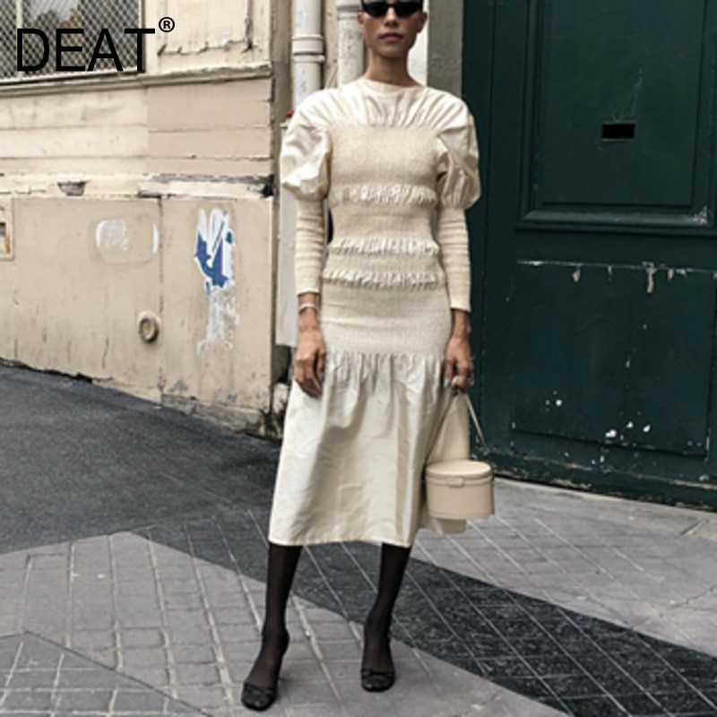 DEAT 2020 nueva moda de primavera ropa de mujer Europa cuello redondo mangas acampanadas cintura alta plisada vestido largo mujer WE01812M
