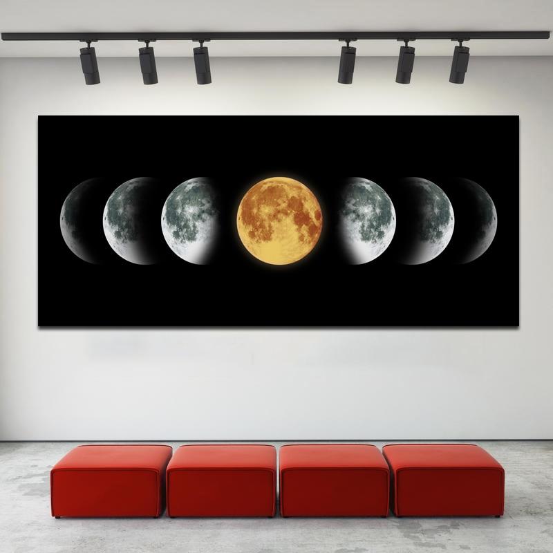 ABNEGADAMENTE Lua Cartaz Arte Da Parede Pintura Tamanho Grande Pintura Da Arte Da Lona Preta Quadros Para Sala de estar Decoração Unframed Modular