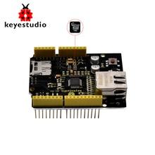 Keyestudio W5500 Ethernet Shield Ethernet Controle Uitbreidingskaart voor Arduino UNOR3/Mega 2560 (Zonder POE)