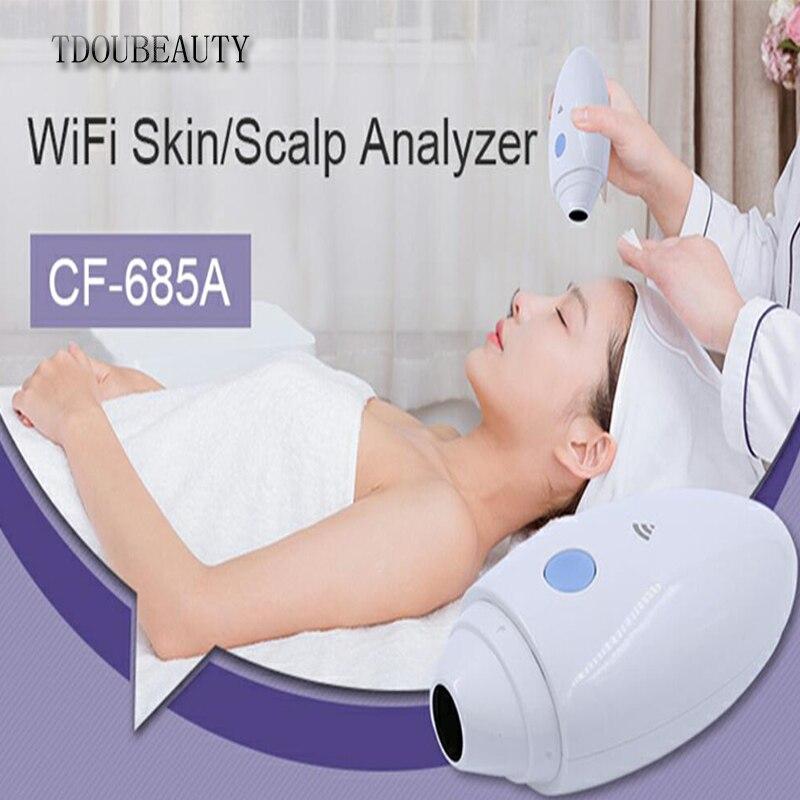 TDOUBEAUTY 2021 New CF-685A Ultra HD High-tech Wifi Scalp Hair Microscope Analyzer Skin Detector Analyzer Camera Free Shipping