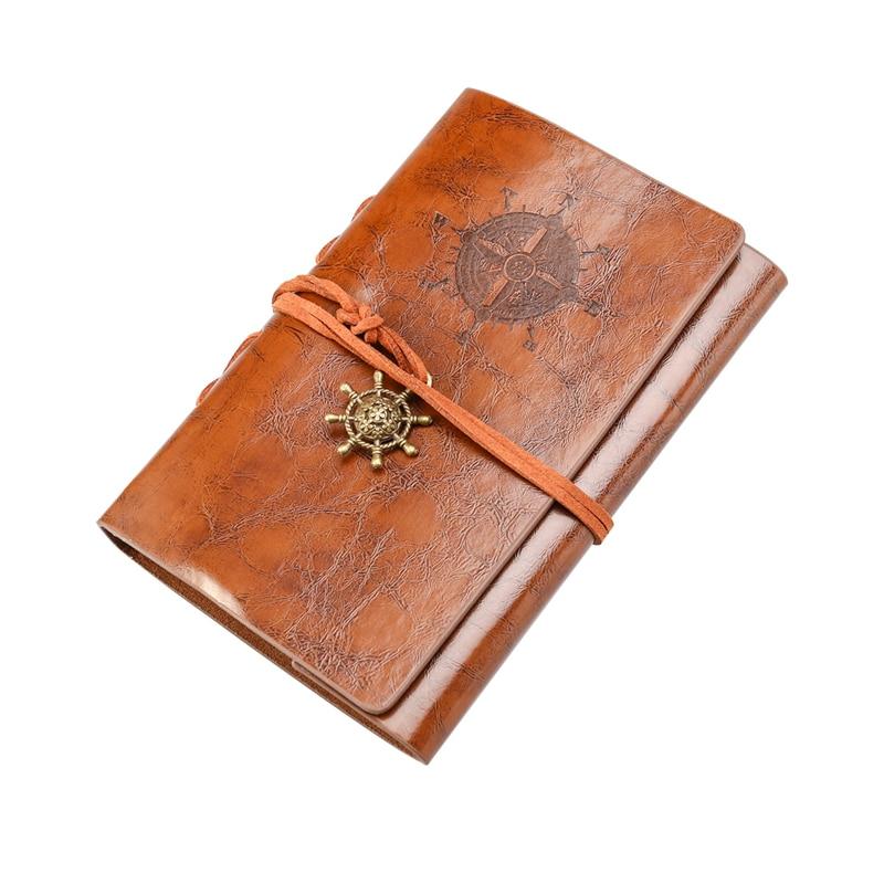 BESTOYARD Retro Vintage pirata ancla PU cubierta cuerda suelta encuadernado cuaderno en blanco Bloc de notas diario de viaje Jotter regalo