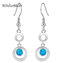 Designer Huge Super supplier Wholesale & Retail Blue Fire Opal Silver Stamped Drop Earrings Fashion Jewelry OE156