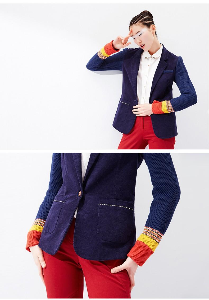 Toyouth kobiet jeden przycisk marynarka krótki projekt bawełny z długim rękawem szczupła marynarka kolor bloku patchwork kobiety blazers 6