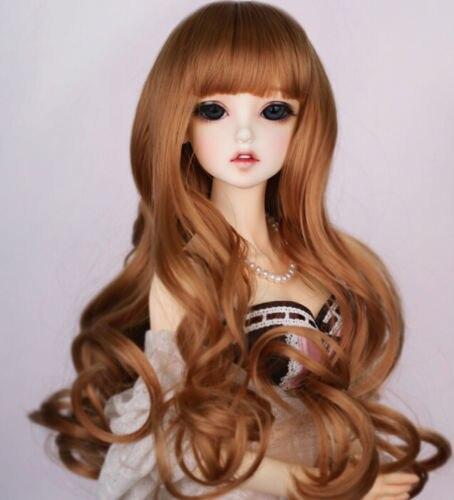 "Nuevo 1/3 muñeca BJD SD 8-9 ""muñeca cabeza mezcla marrón largo rizado pelo Noble peluca Dollfie 22-24cm"
