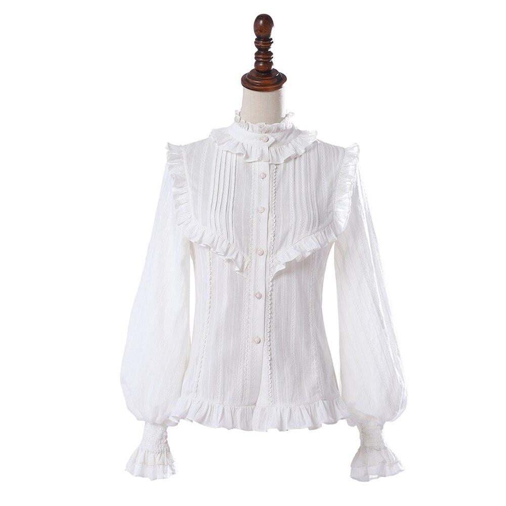 Women's Long Sleeve Blouse Vintage Ruffled Button Down Lolita Shirt by YLF