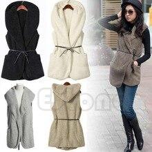 Mujer Hoodie chaleco largo chaqueta sin mangas abrigo de piel de cordero de imitación chaleco prendas de vestir exteriores