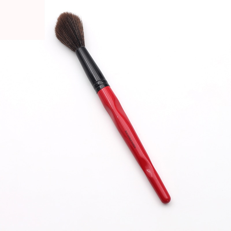 Classic Red Body Curve Plastic Long Handle Fluffy Synthetic Buildable Cheek Makeup Brush