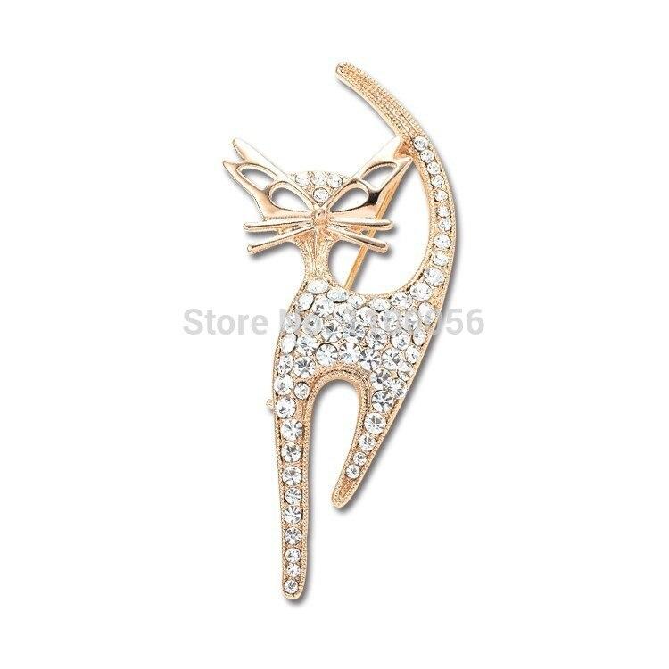 Envío Gratis 2019 lindo Diamante Sexy gatos broche barato elegante Rhinestone Animal Hijab broches PIN para bufanda X1495