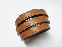 Cordon en cuir marron 10x2mm cousu cordon en cuir plat 10mm
