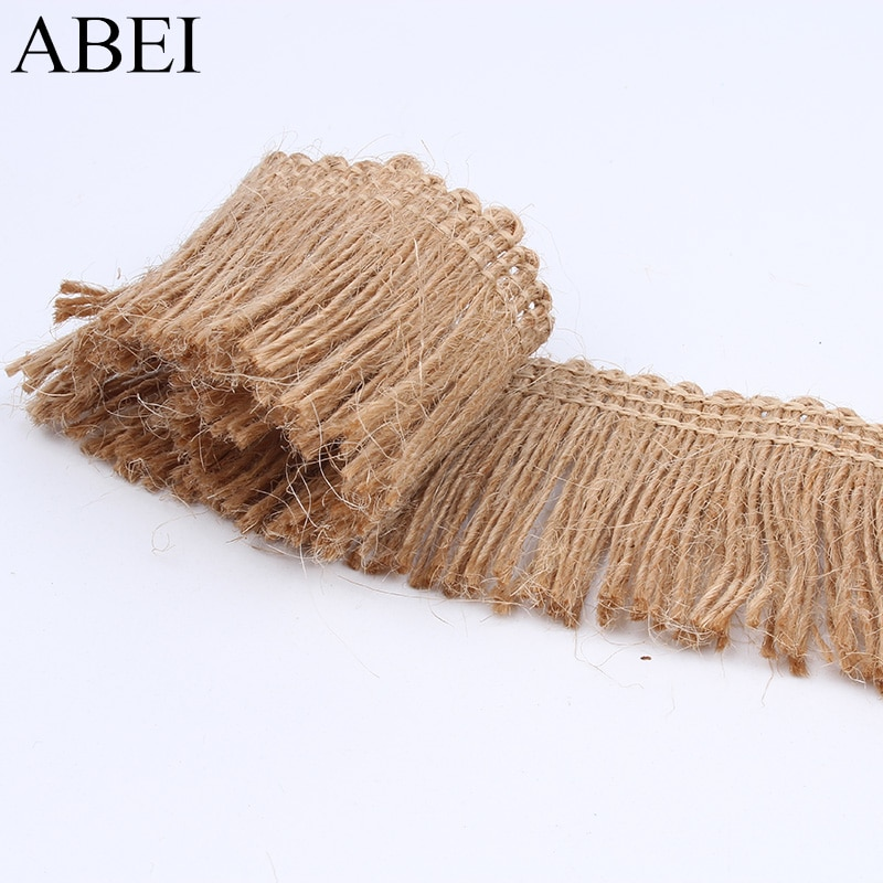 4cm 5yards Burlap Lace Wedding Party Decoration Hemp Jute Ribbon DIY Sewing Fabric Handmade Accessories