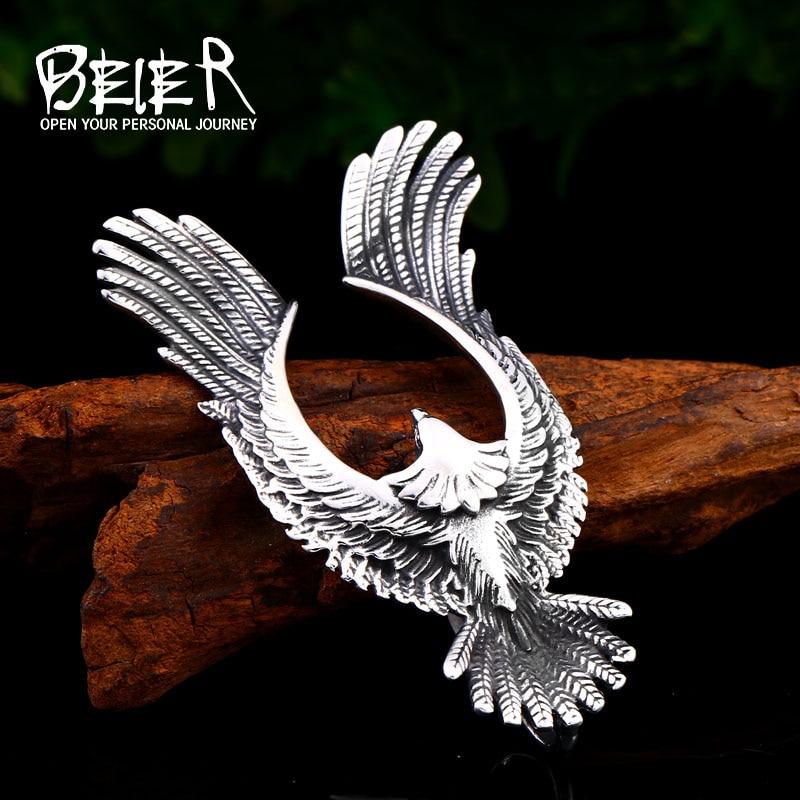 BEIER, collar con colgante de águila voladora Takahashi de acero inoxidable para hombre, cadena con abalorio con conector tipo billetera, BP8-444 de joyería de regalo a la moda