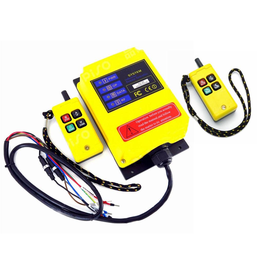 2 transmisores 1 receptor grúa Radio controlador de sistema 1 velocidad 4CH 220V 380V 12V interruptor de Control remoto inalámbrico 430 ~ 440MHz