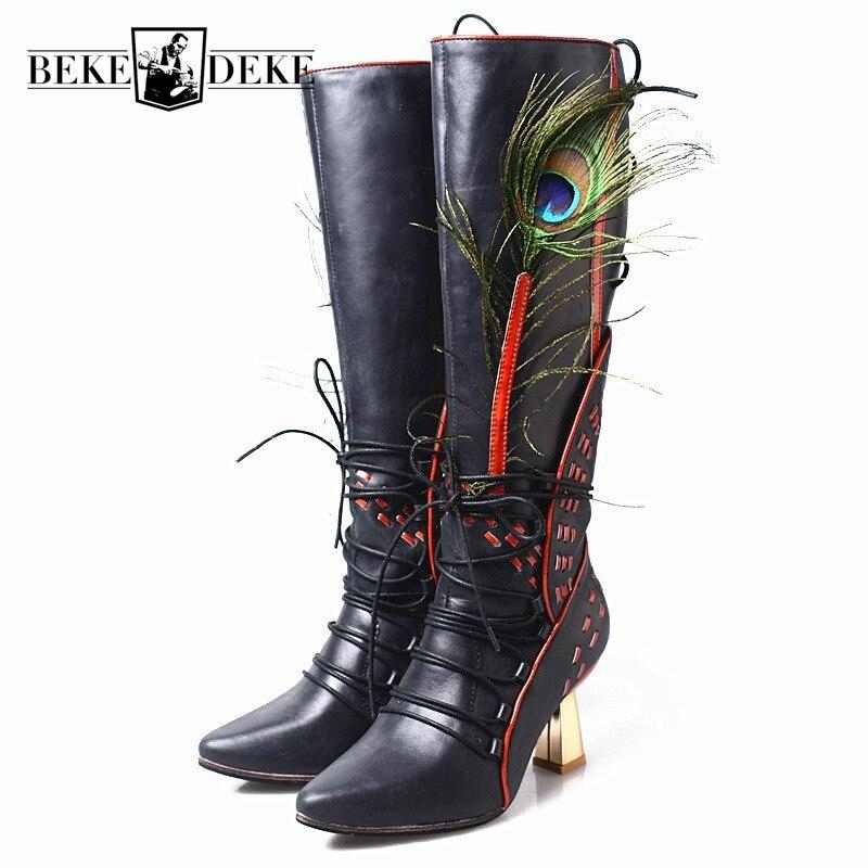 Botas altas de cuero genuino de plumas de pavo real de pasarela de moda para mujer 2019 nuevo tacón alto punta puntiaguda de invierno con cordones botas de Mujer Zapatos