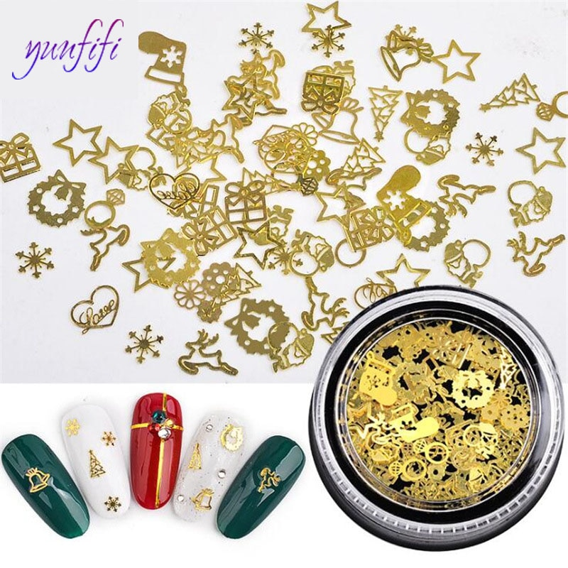 120 pieces of mixed manicure jewelry hollow metal computer leaf leaves gear gold super thin sheet Ch