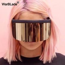 WarBLade nouveau surdimensionné bouclier visière lunettes de soleil femmes concepteur grand lunettes cadre miroir lunettes de soleil nuances hommes coupe-vent lunettes