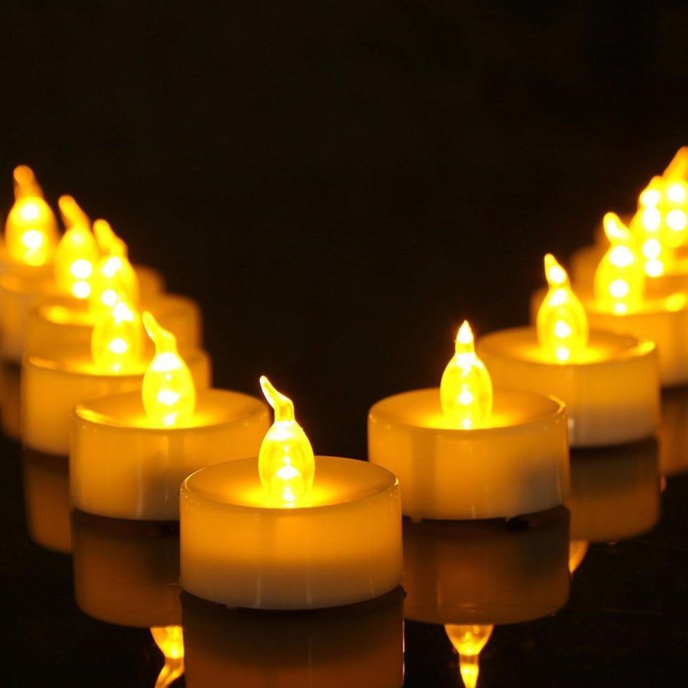 Velas de batería con temporizador, luces parpadeantes con luz amarilla, 6 horas...
