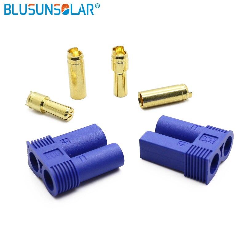 20 pares/lote venda quente ec5 plug 5mm bala conectores 100a rc lipo bateria carga adaptador conector para rc parte