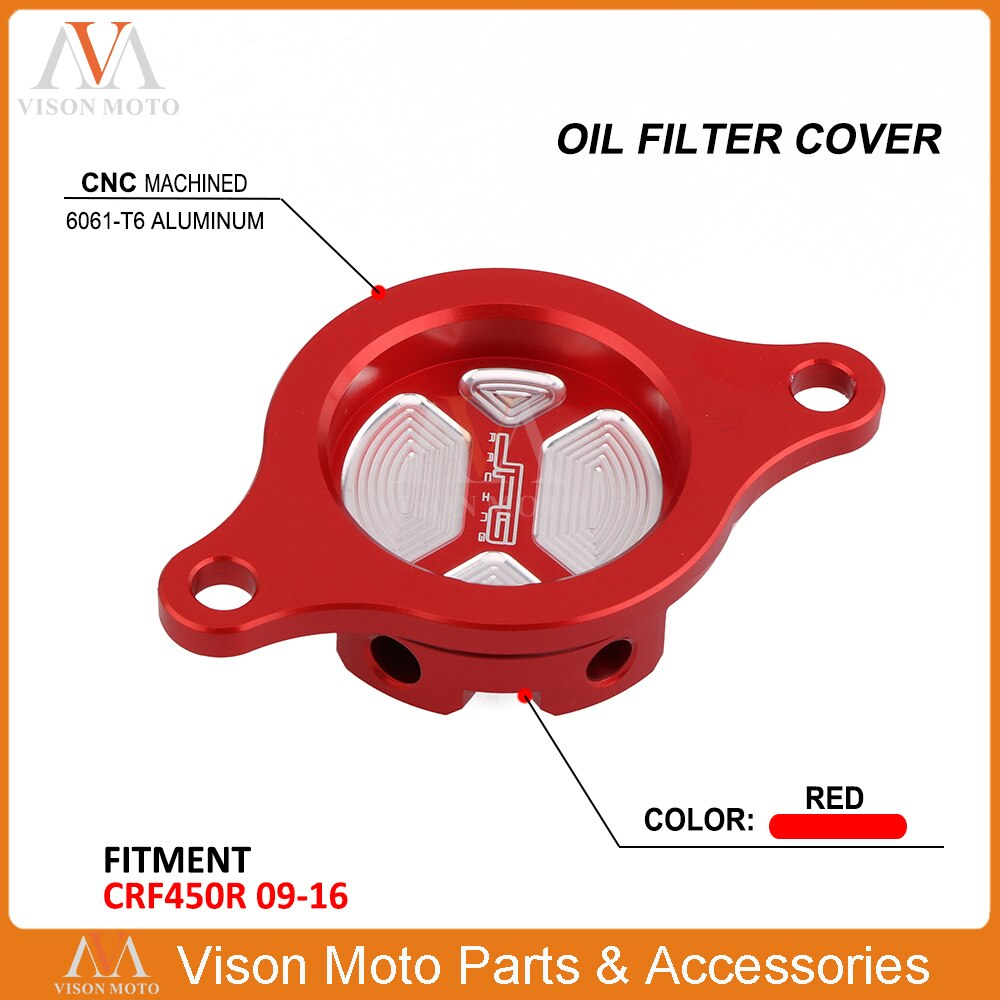 CNC Billet aluminio filtro de aceite de tapa para Honda CRF450R FCI 450R 2009, 2010, 2011, 2012, 2013, 2014, 2015, 2016
