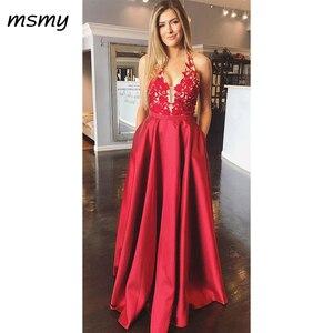 Evening Dresses Halter Appliques Red Prom Dress Sexy Backless Fashion Long  Evening Gowns Custom Made Vestido de noche