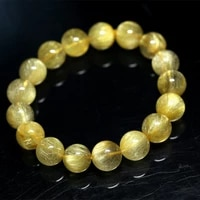 natural genuine clear yellow gold hair rutile quartz stretch mens bracelet round beads 12mm
