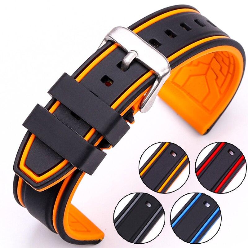 HENGRC Weiche Silikon Uhr Band Strap 20mm 22mm 24mm 26mm Mode Frauen Männer Farbe Passenden Uhrenarmbänder gummi Armband