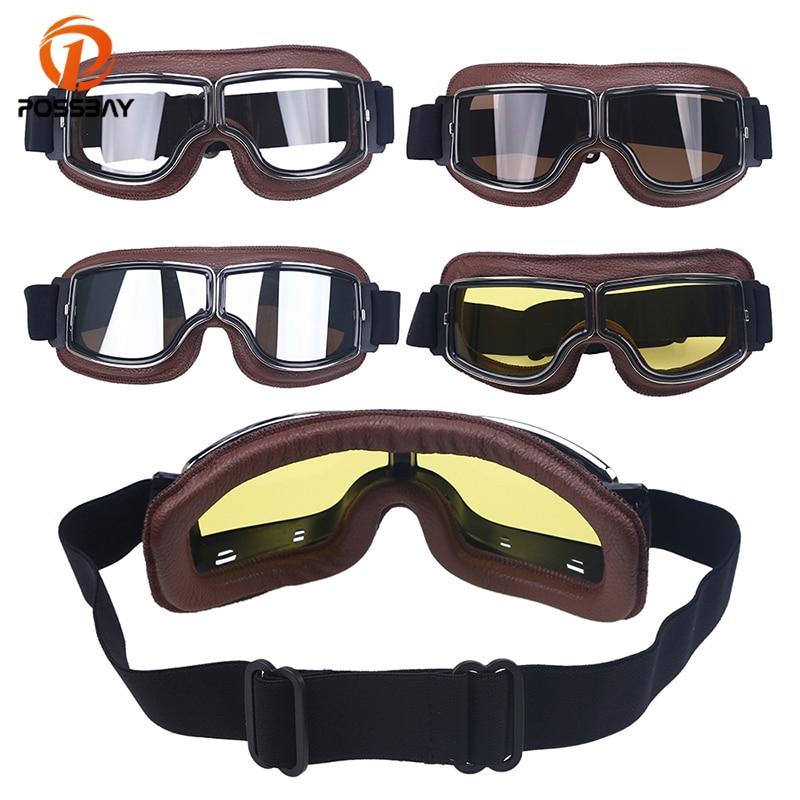 POSSBAY Vintage Retro Pilot Motorcycle Glasses Googles Leather Windproof Motocross Sports Motorbike Ski Cycling Eyewear Googles