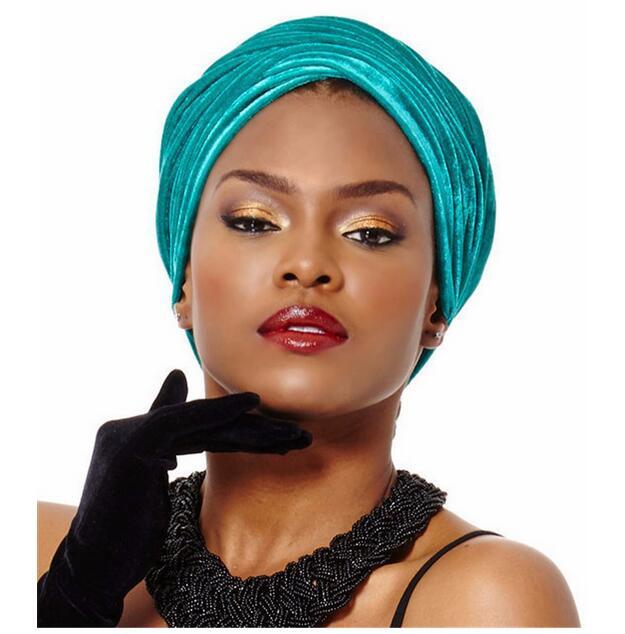 Модная бархатная шапка, Женский бархатный шарф, индийская шапка, шарф, эластичная шапка с украшением для волос, шапка
