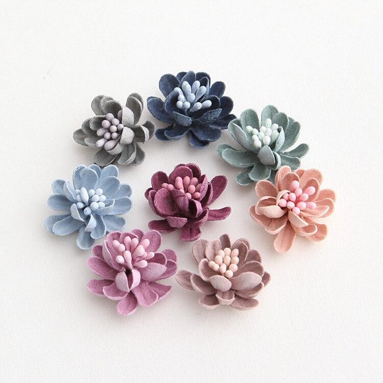 25mm Mini tela estambre flores para niñas accesorios para el cabello ramillete y Diadema material diy