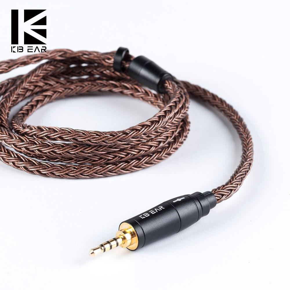 AK KBEAR 16 núcleo actualizado de cobre puro Cable 3,5/2,5/4,4mm Cable de auriculares con MMCX/2Pin para AS16 ZS10 ZSN PRO TRN X6 V90 ZSX F1