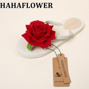 Шлепанцы HAHA женские на толстой подошве, пикантные сандалии с цветами розы, пляжные тапочки, ручная работа, А6, летние