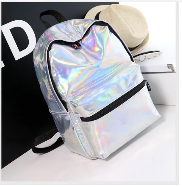 1 шт. Серебряный голограммный лазерный рюкзак из искусственной кожи голографический Рюкзак mochila masculina школьный рюкзак