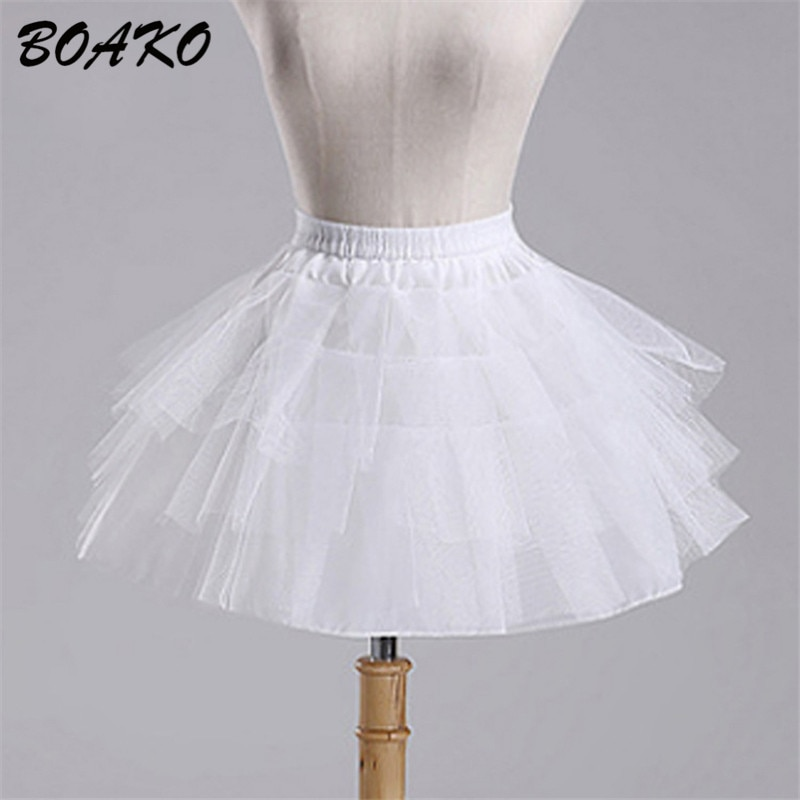 Boako branco curto meninas casamento petticoats tule plissado curto crinoline nupcial saias senhora meninas criança underskirt jupon 2019