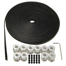 10pcs 20Teeth GT2 Timing Pulley Bore 5mm + 10m 33ft 2GT GT2 Timing Belt 6mm wide for 3D printer CNC RepRap