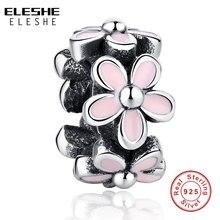 ELESHE, 100% Plata de Ley 925 Original, flor Margarita esmaltada rosa, cuentas espaciadoras, encantos aptos para pulseras, fabricación de joyas DIY