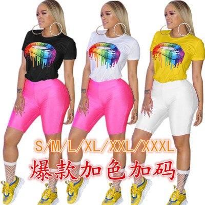 Digital Impressa T-shirt com Os Lábios Coloridos para o Desgaste de mulheres Sexy