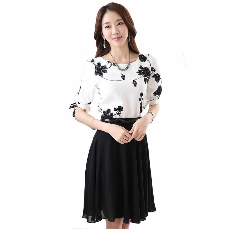 Beleza senhora conjunto de roupas plus size S-3XL bordados chiffon camisas + preto mini saias femininas casuais ternos verão