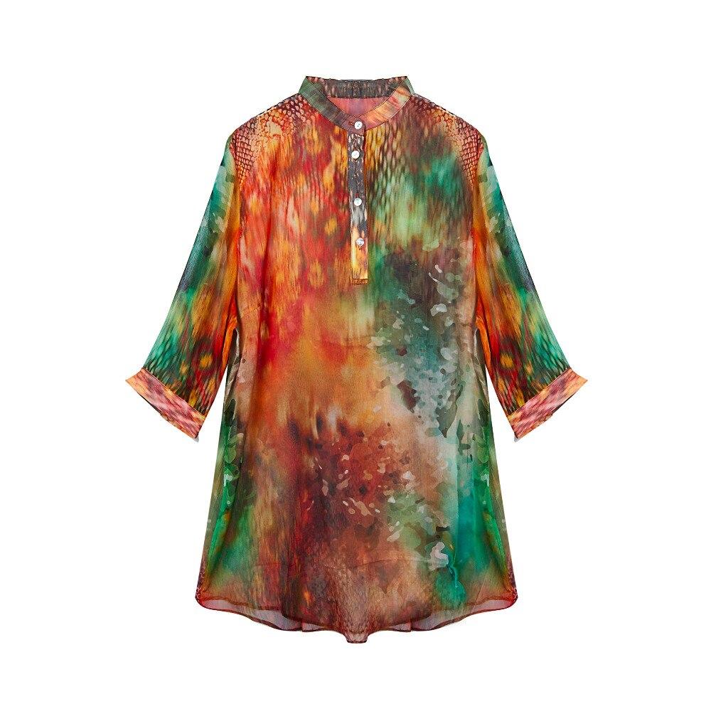 CISULI 100% الحرير قماش شيفون مجعّد قميص الحرير الخالص الشيفون النساء قمصان تنفس حجم كبير نسخة L/XL/XXL/XXXL