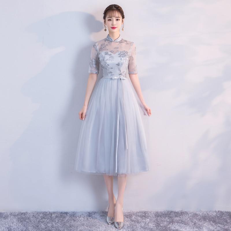 Vestido Midi color gris vestidos de dama de honor Retro Para fiesta de boda para mujer bordado Floral imperio parte posterior del vendaje