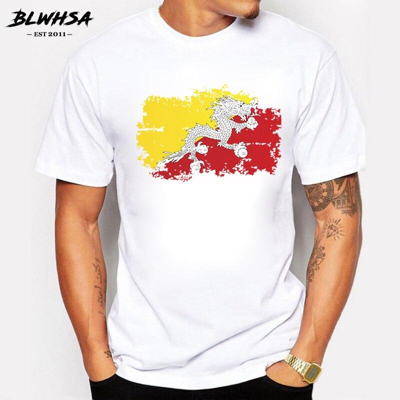 Camisetas BLWHSA con bandera de Bután para hombre, camisetas de verano a la moda de manga corta con estilo nostálgico para hombre, camiseta de diseño deportivo