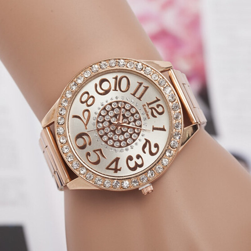 Women Watch New Luxury Brand Fashion Casual Large dial design Quartz Watches Stainless Steel Rhinestone Ladies Wristwatches arabic numbers dial design women s fashion watch stainless steel ultra thin silver women quartz watches bgg brand horloge saat
