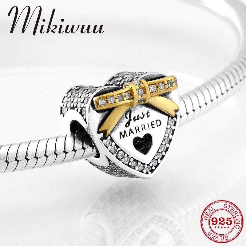 925 Sterling color dorado y plateado arco Día de San Valentín forma de corazón CZ cuentas se ajustan Original Pandora encanto pulsera fabricación de joyería