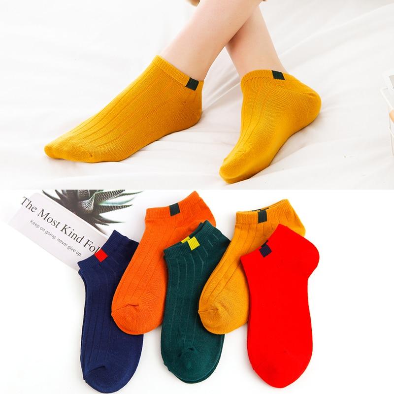 5pairs Women's Short Socks Funny Cute Japanese High School girs Female Loose Striped Ankle Summer Spring Cotton Socks Pop Socket