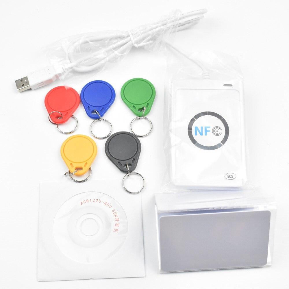 ACR122U USB 13,56 mhz NFC Kartenleser Schriftsteller Kopierer Duplikator Klon Software + 5 stücke UID schlüssel + 5 stücke UID karten